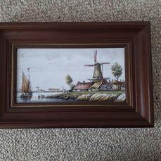 Westraven tegelfabriek Utrecht - Tegel afbeelding - Keramiek, houten lijst