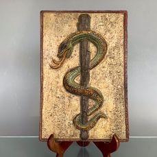 Westraven- Art Nouveau-tegel met Aesculaap