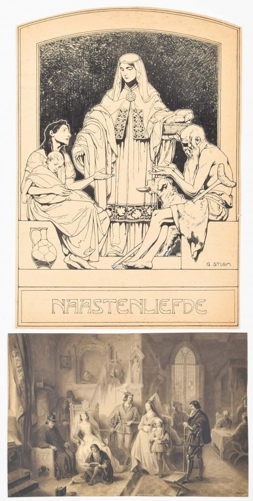 Twee tekeningen: (1) George Sturm (1855-1923) (toegeschreven). Naastenliefde