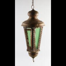 Antieke koperen hanglamp. Zes-kantig. Circa