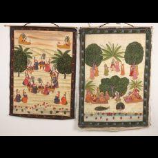 Twee Perzische schilderijen op zijde.