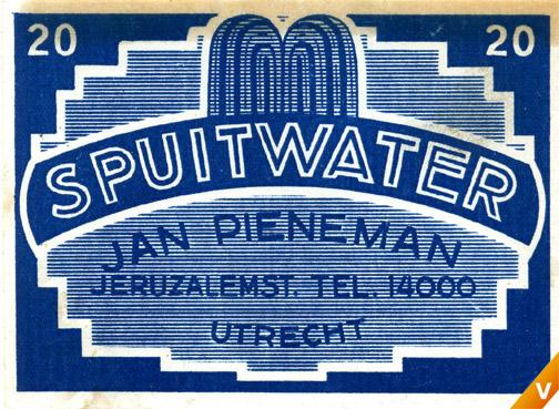 Etiket spuitwater 1940