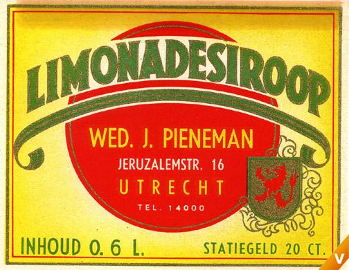 Etiket limonadesiroop 1959