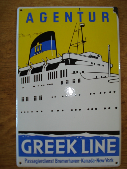 Emaille bord Greek Line